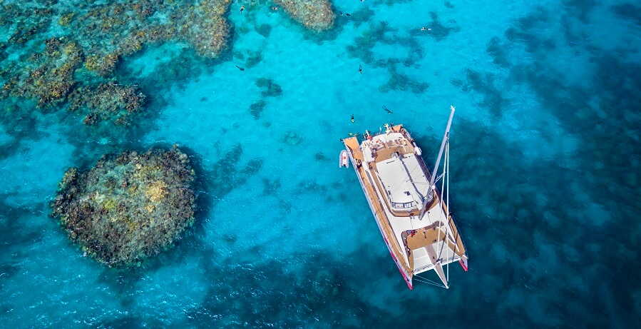 Luxury Catamaran on the Reef