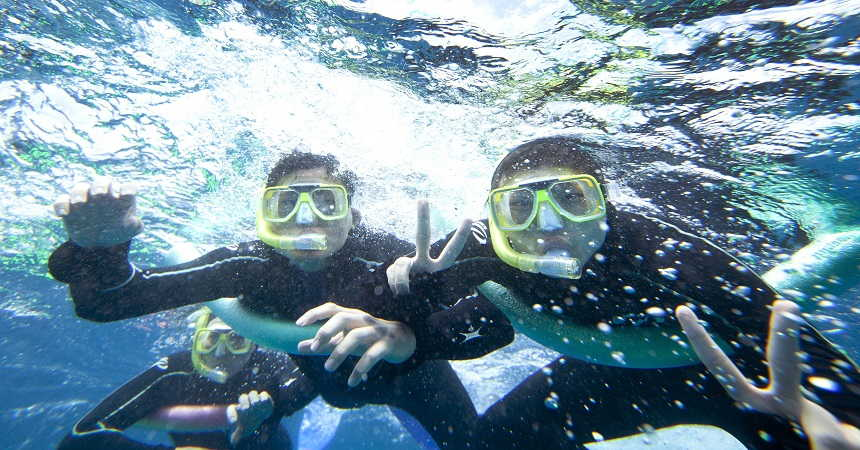 snorkeling the reef
